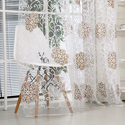 Norbi Floral Tulle Room Window Curtain Sheer Voile Panel Drapes Curtain Browm