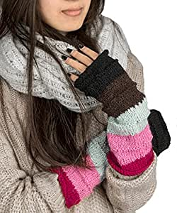 Warm Winter 100% Wool Fingerless Gloves Arm Warmers Hand Knit Crochet Pink Woman