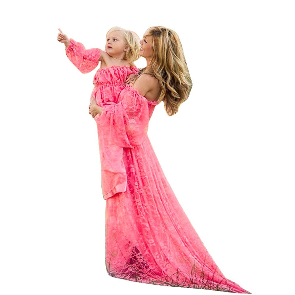 Easytoy Women Ruffle Lace Front Split Maternity Dress For Photography Photoshoot (Hot Pink) by Easytoy