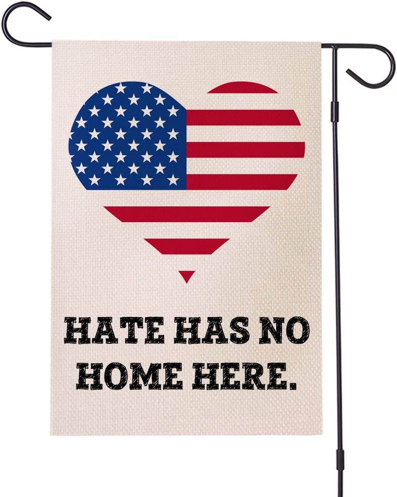 Doreen's Boutique Hate Has No Home Here Yard Flag - Human Rights Justice Sign, BLM Lawn Sign, Feminism Sign, Protest Sign – 1 Pc (WHT)