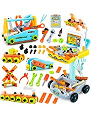 kramow 102PCS Kids Realistic Construction Tools Toys Set Pretend Play Tool Workbench Kit Gifts for Toddler Boys Girls