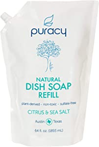 Puracy Natural Dish Soap Refill, Citrus & Sea Salt, Sulfate-Free Liquid Detergent, 64 Ounce