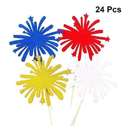 Amazon com: Amosfun 24pcs USA Cupcake Toppers Firework Cupcake Picks