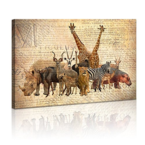 Sechars - Animals Wall Art Africa Lion Giraffe Zebra Paintin