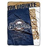 The Northwest Company MLB Milwaukee Brewers Strike Raschel Blanket, 60-Inch by 80-Inch