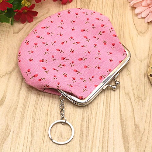 Small Shuohu Lovely Clutch Cute Wallet Holder Coin Dark Bag Women's Handbag Pink Floral Purse 5qwRqrTx