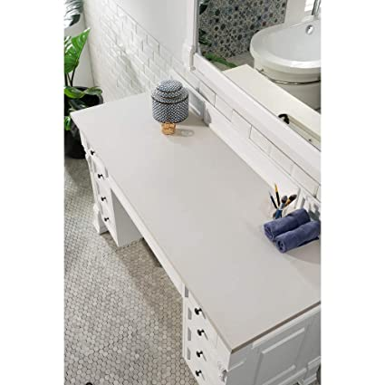 James Martin Furniture 3 Cm Snow White Quartz Top Makeup Table In
