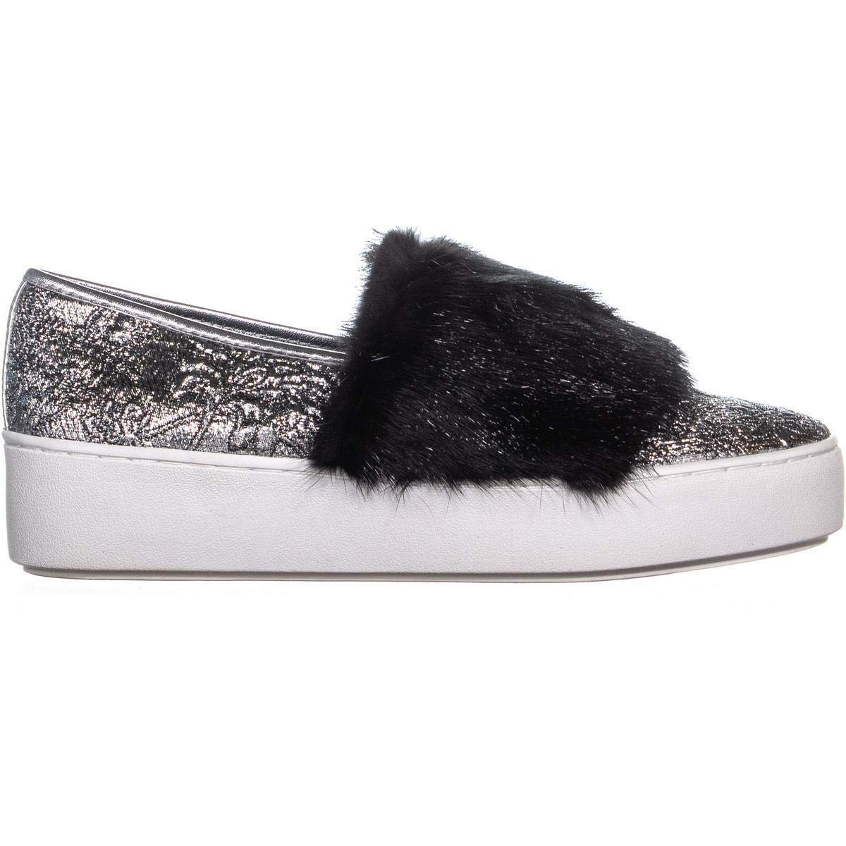 b185b207758ee Michael Kors Women's Lorelai Metallic Mink Fur Skate Fashion Sneakers