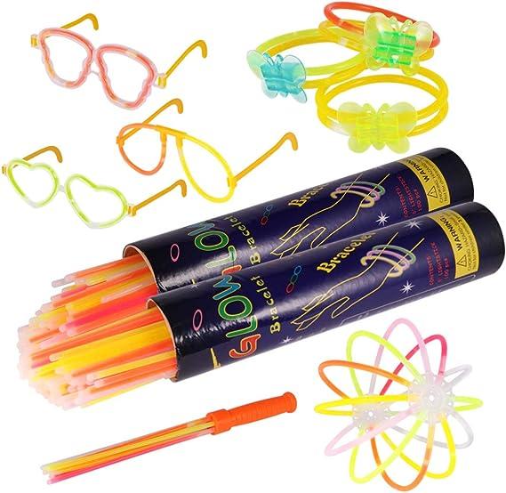 Pulseras luminosas, Pack de 200 Pulseras fluorescentes glow pack multicolor, Varitas Luminosas para Fiestas 20 cm: Amazon.es: Electrónica