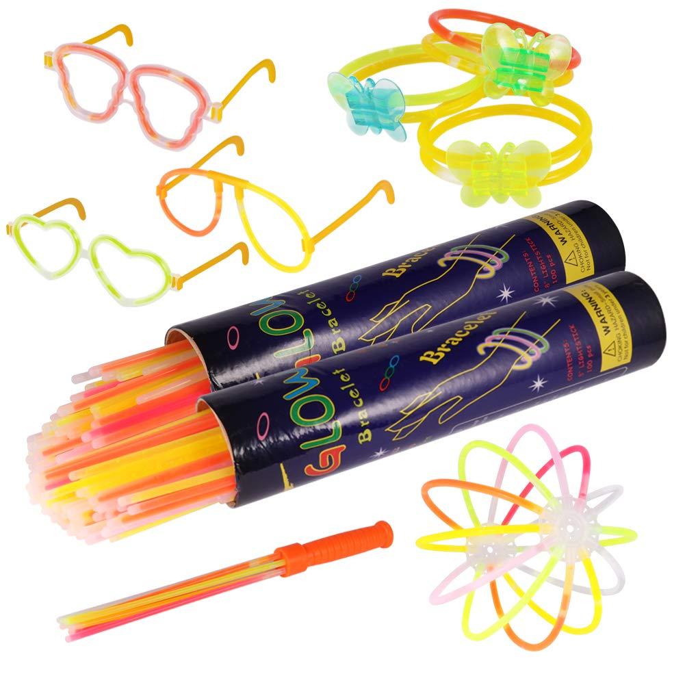 Pulseras luminosas, Pack de 200 Pulseras fluorescentes glow pack multicolor, Varitas Luminosas para Fiestas 20 cm - pulseras, collares, kits para crear gafas Beverly-op