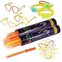 Pacco di 200 Barre Luminose per Party, Braccialetti Fluorescenti Starlight Glowstick, Braccialetti Luminosi, Collane, Occhiali, Braccialetti Tripli, Cerchietti, Fiori, Palla Luminosa - 8 Colori