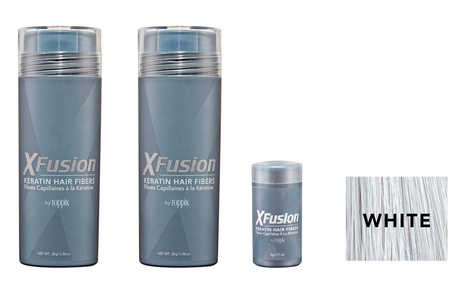 XFusion Keratin Hair Fibers,Two Pack Value 2 x 28 gr/0.98 oz WHITE/FREE Refillable 3 gr Travel Size Fibers ($8.00 Value) …