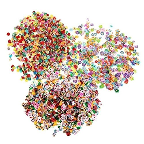 1000 Pcs/Pack 3D Fruit Animals Fimo Slice Clay DIYs Nails Art Tips Stickers Decoration,Style Random By Team-Management