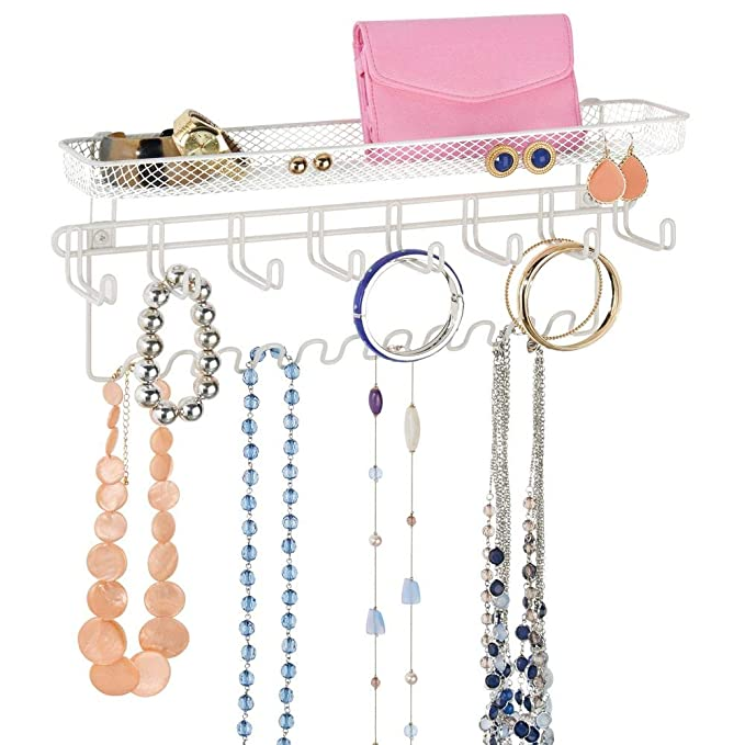mDesign Colgador de joyas – El perfecto joyero organizador para pendientes y otros accesorios – Si busca ideas para colgar collares y organizar ...