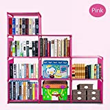 Rapesee Simple Rectangle Laddder Bookself 9 Framework Small Corner Bookcase Fashion Korean Multifunction Home Furniture Adjustable Storage Shelves for Books, Shoes, Clothes (Pink)