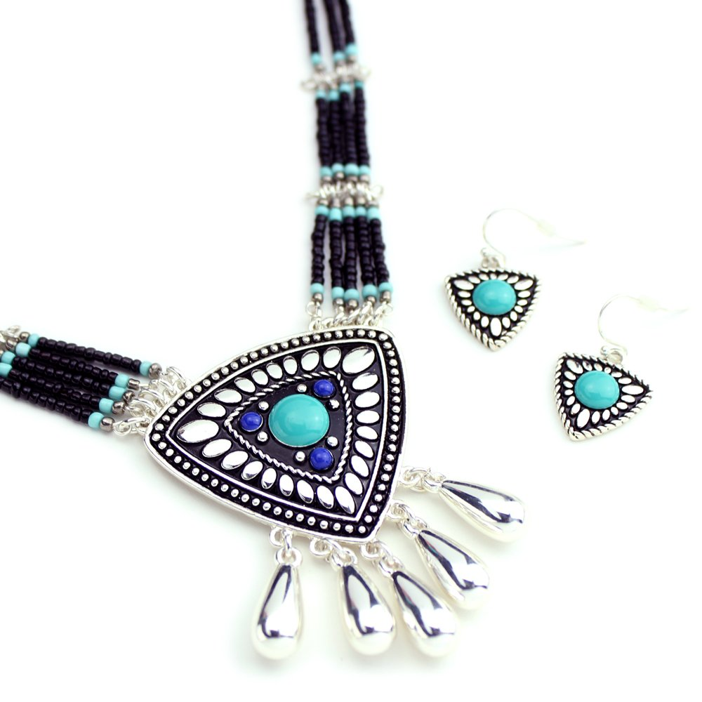 Wyo-Horse Jewelry Collection Turquoise And Silver Western Dreamcatcher Pendant Necklace And Earring Set