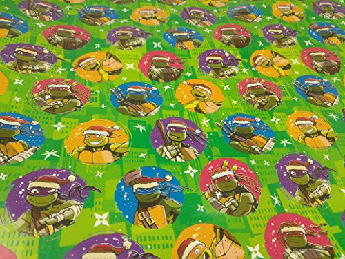 Christmas Wrapping Holiday Paper Gift Greetings 1 Roll Design Festive Wrap Teenage Mutant Ninja Turtle Circles