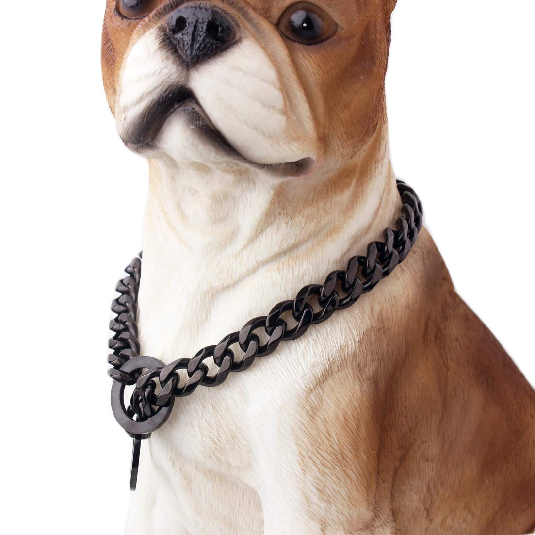 Pet Dog Choke Collar Chain 15mm Wide Stainless Steel Necklace Decor for Large Small Dogs Animals 24'' Long