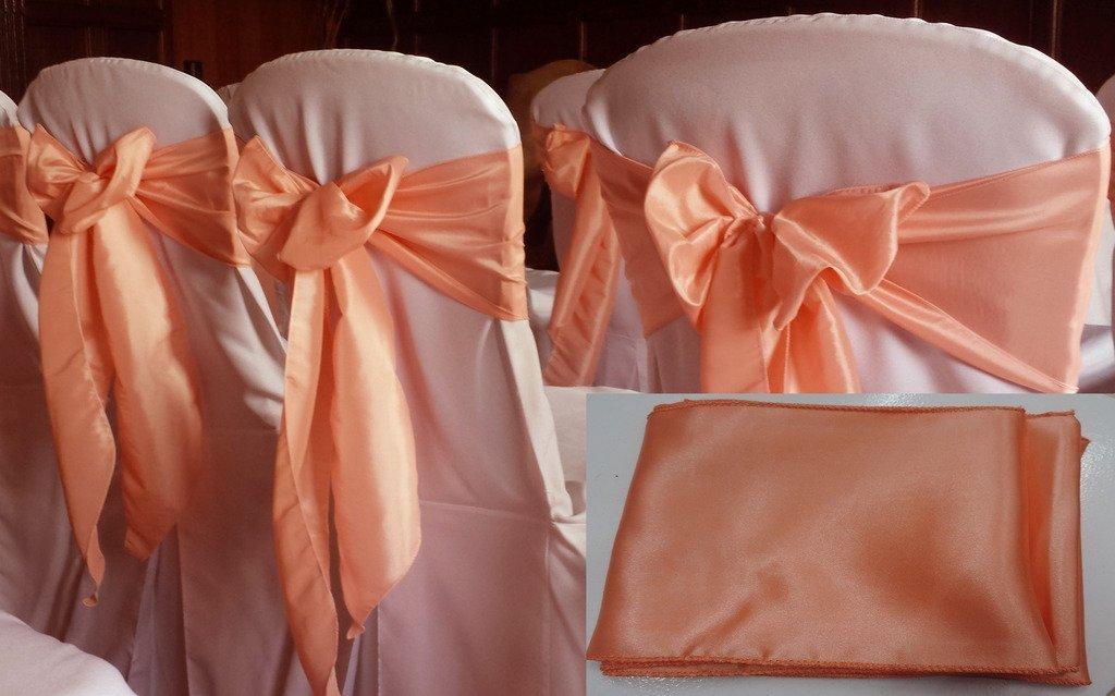 イタリアのホームパック25のサテン椅子サッシ弓ウェディングとイベント供給パーティー装飾用椅子カバーサッシ( 25 , peach-2 )   B01MS9LCS8