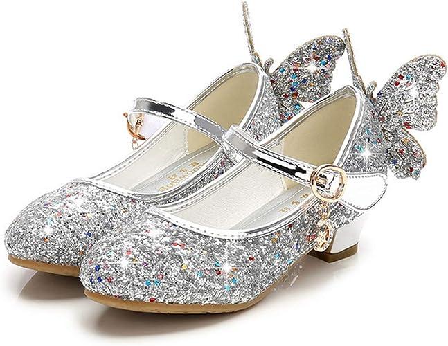 Fanessy Sandales Fille Ballerine Chaussure à Talon Argenté