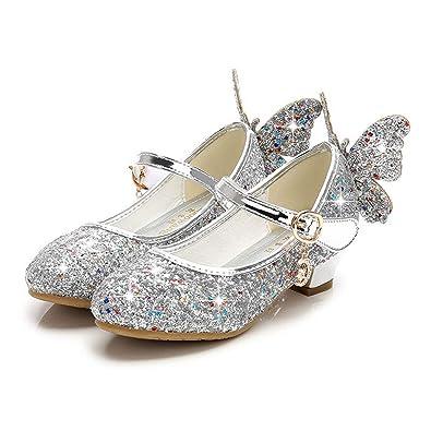 8ea0fda16 Fanessy Sandales Fille Ballerine Chaussure à Talon Argenté Or Enfant ...