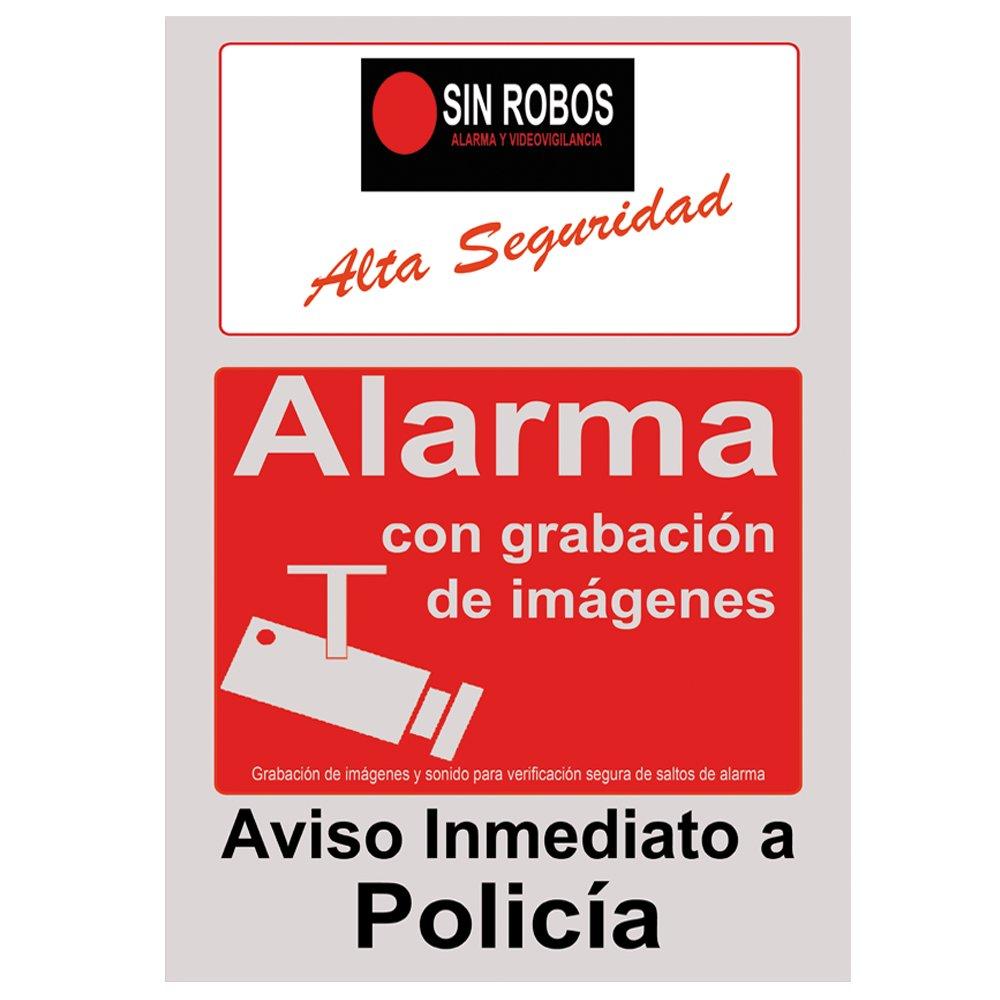 Cartel alarma casa gris y rojo.Cartel disuasorio con camara seguridad exterior y sistema de fijación. Regalo de 2 vinilo de cartel alarma casa que simboliza ...