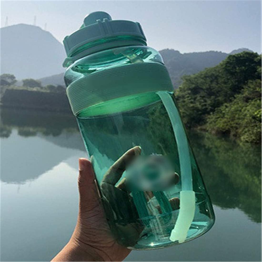 HMJ Copa de Metal Plástico Gran Capacidad Copa de Espacio Hervidor de Agua Cómodo Fitness Deportes Prueba de Fugas Vaso de Paja 600 ml Verde