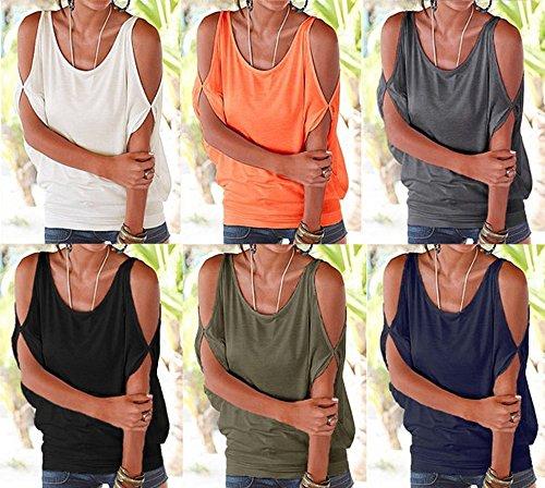 Casual Blusas Sin Imixcity Mujer Verano De Camisetas Del Tops Batwing Mangas Camiseta Para Camisas Frío Verde Hombro rqXqZOwv