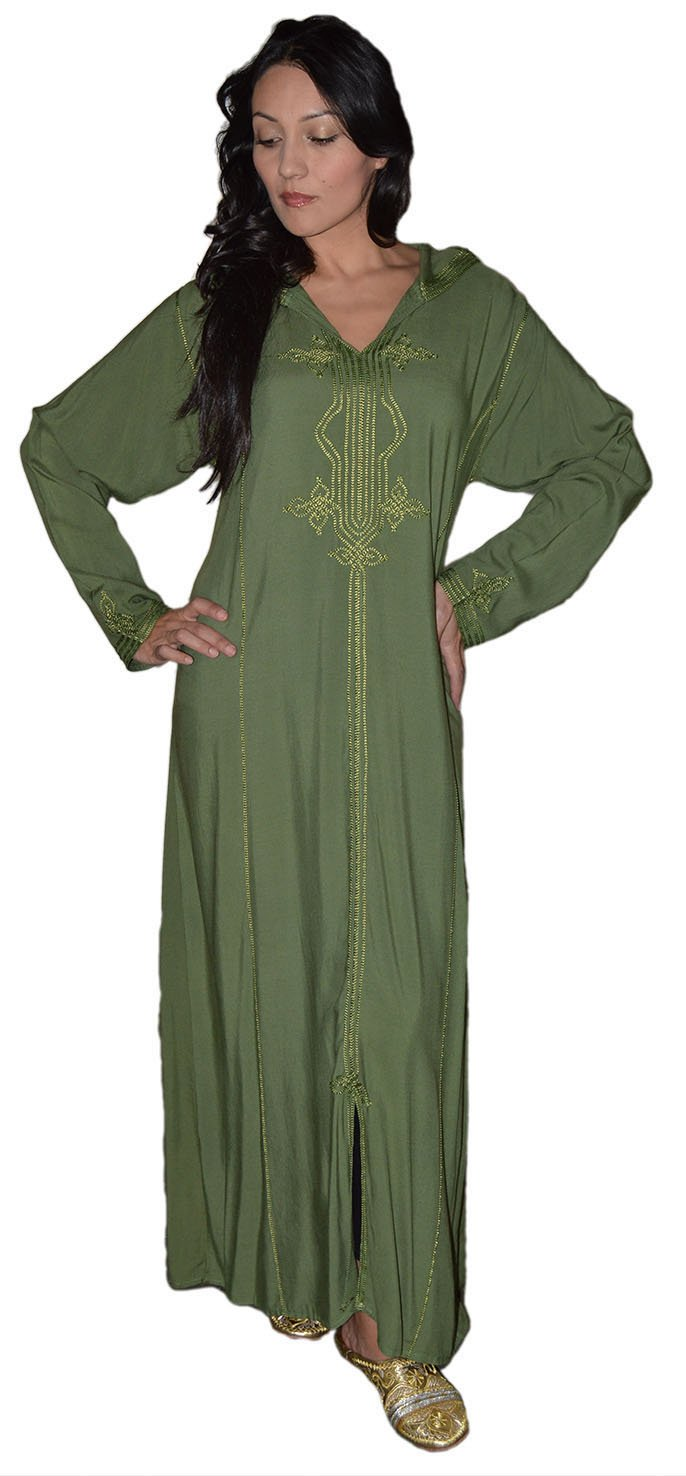 Moroccan Caftans Women Hand Made Djellaba Embroidered Breathable Cotton Size Large Green