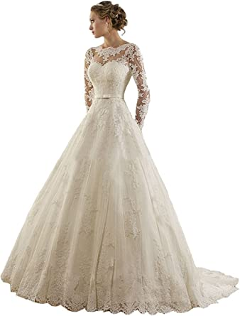 Lydiags Women S Jewel Lace Applique Long Sleeves Sash Chapel Train A Line Wedding Dress Amazon Co Uk Clothing,Wedding Short Fitted White Dress