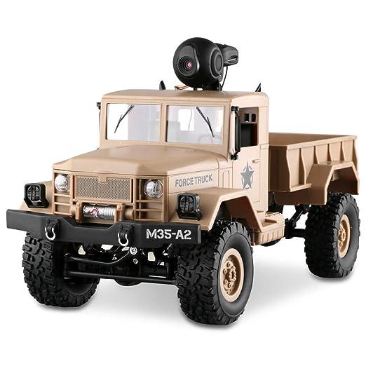 LBLA RC Military Truck with Wi-Fi HD Camera, 1:16 Scale Remote Control Off-Road Army Car
