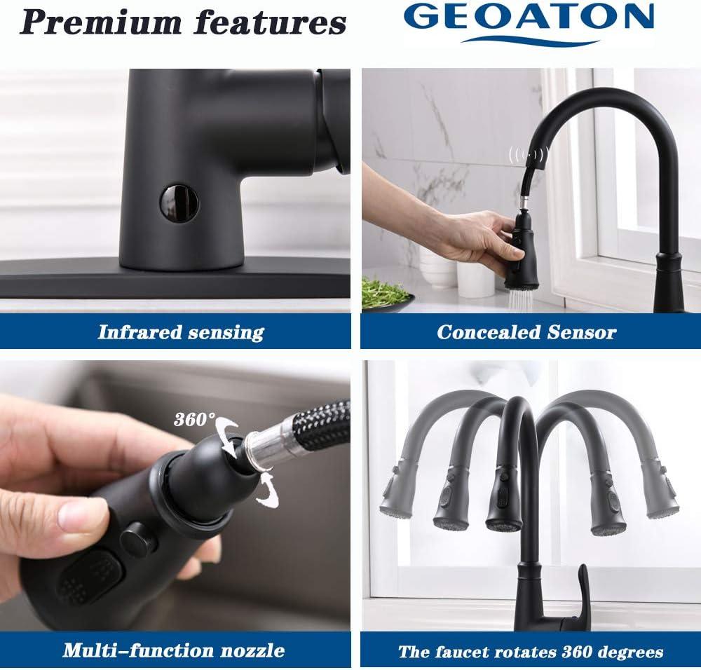 Geoaton Mitigeur d/'/évier de cuisine sans contact /à deux capteurs avec pistolet extractible et bec pivotant