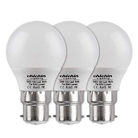 ChiChinLighting - Bombilla LED de 12 V de 7 W con sistema solar de baja tensión