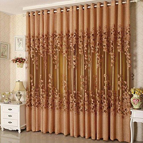 Chair Vine Design Mat (LiPing Floral Vines Drape Valance Elegant Window Treatment Blackout Voile Curtains/Drapes for Bedroom 39.4×98.4in(100x250cm) (A))