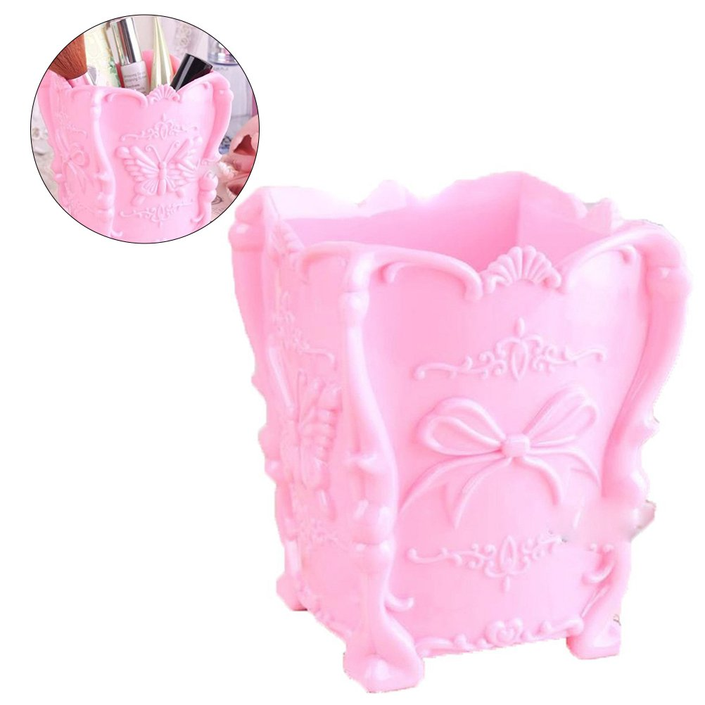Acrylic Makeup Brush Container Cup Butterfly Carved Cosmetic Brush Pot Storage Holder Organizer (Transparent) Frcolor