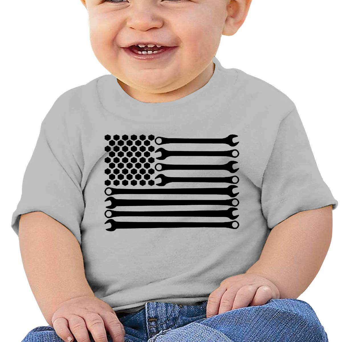 JVNSS Mechanic Sticker Decal American Flag Veteran Baby T-Shirt Little Baby Cotton T Shirts Fashion Clothes for 6M-2T Baby