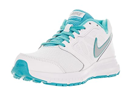 Amazon.com  Nike Womens Downshifter 6 White Metallic Silver Gmm Blue ... 490aa66d6