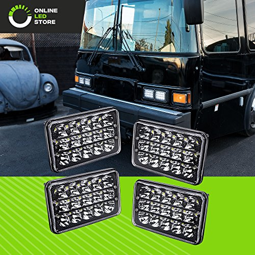 - 4pc Universal 4x6 45W LED Rectangular Sealed Beam Headlight Assembly with Black Housing [H4 Socket] [High/Low Beam] [IP67] (H4651 H4652 H4656 H4666 H6545 Replacement) - for Jeep Wrangler & More