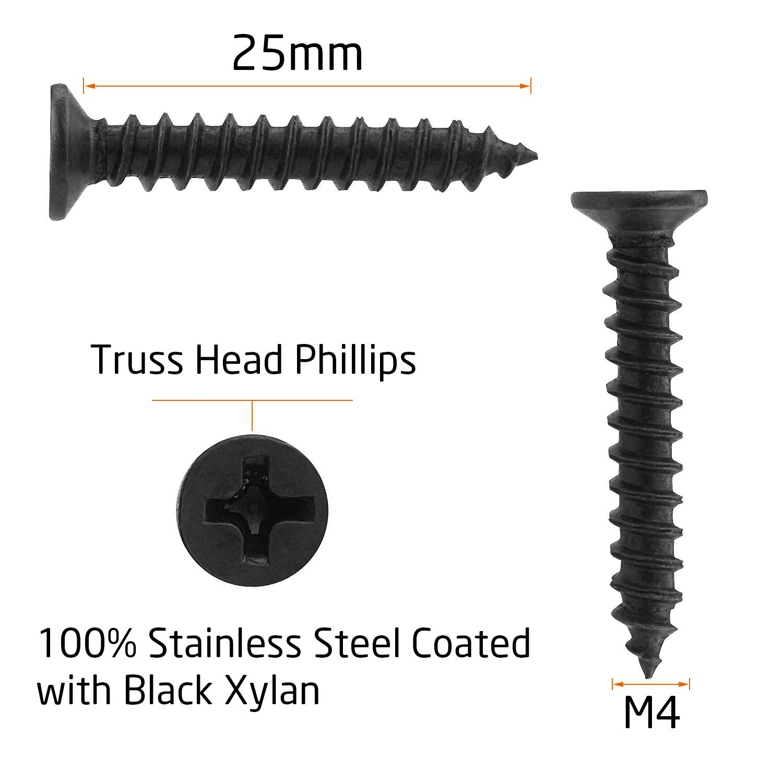 in acciaio inox nero 100 viti autofilettanti per legno con testa a croce modificata Starvast M4 x 25 mm