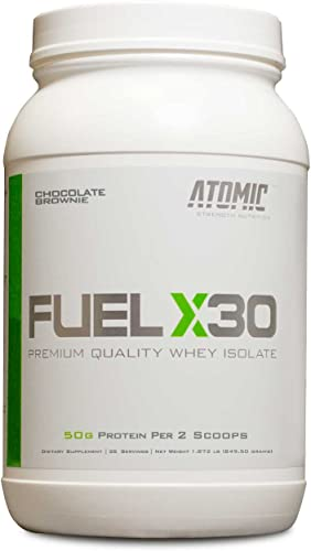 Fuel X30 Whey Isolate Protein by Atomic Strength Nutrition Premium Quality Sugar FREE Fat FREE Gluten FREE and Lactose FREE – Chocolate Brownie – 2 Pound