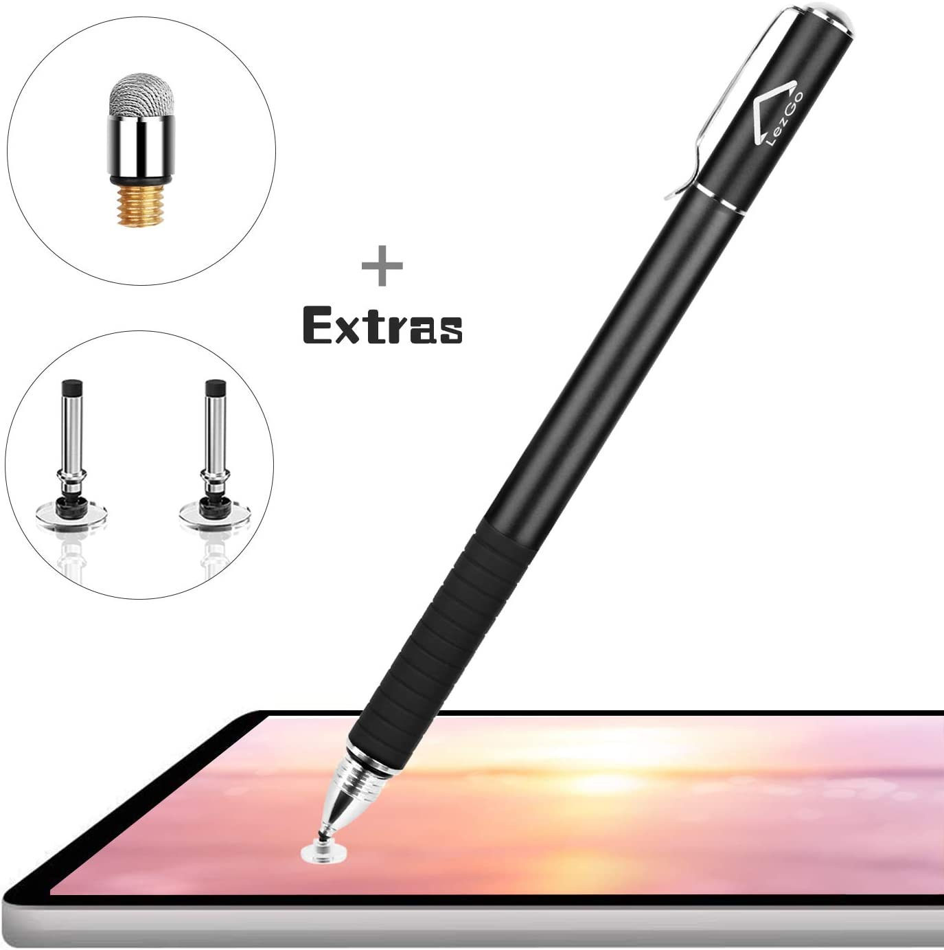 Lezgo Stylus Pens for Touch Screens, 2-in-1 Universal Disc Stylus for iPad, iPhone and All Other Capacitive Cellphones, Tablets, Laptops Bundle with 3 Replacement Tips (Black)