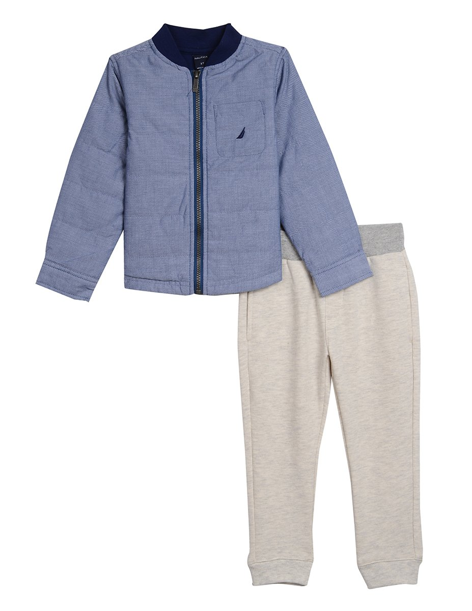 Nautica Boys' Toddler Long Sleeve Shirt Jacket and Knit Jogger Two Piece Set, Dark Blue, 3T