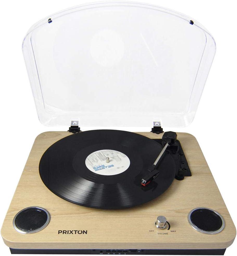 PRIXTON Marconi - Tocadiscos de Vinilo Vintage, Reproductor de Vinilo y Reproductor de Musica Mediante Bluetooth, USB y TF, 2 Altavoces Incorporados, Tapa Antipolvo, Diseño Veta de Madera