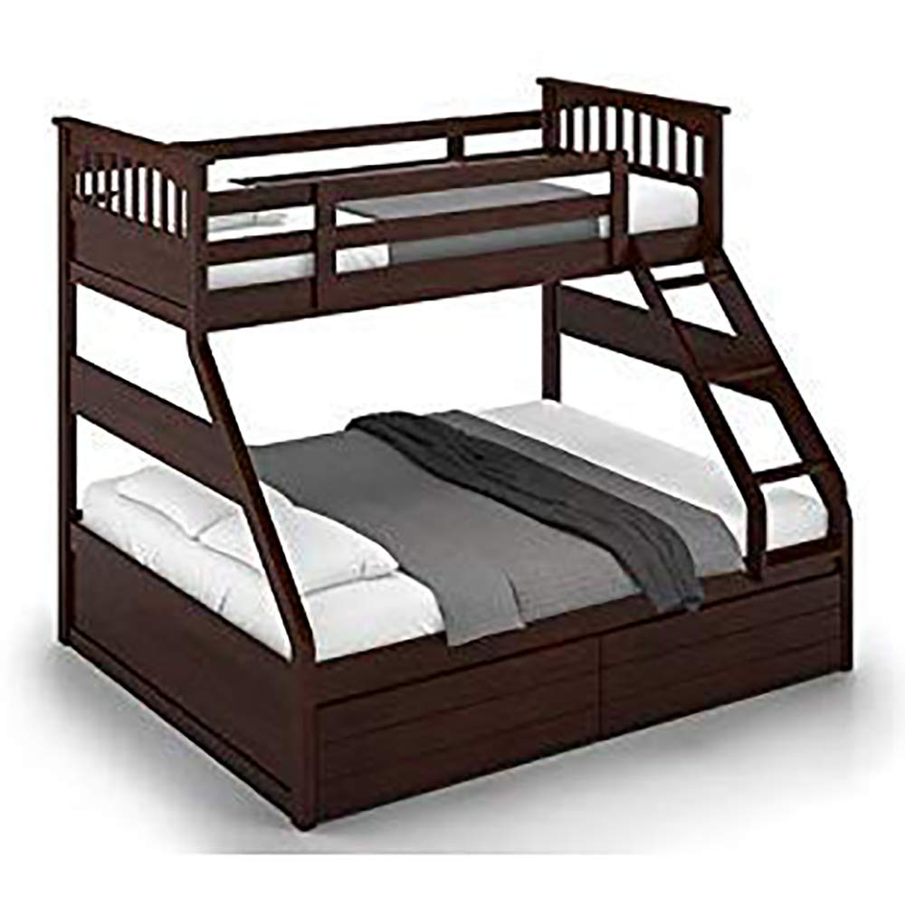 Bl Wood Sheesham Wood Double Size Bunk Bed With Storage For Bedroom Dark Brown Buy Online In Bulgaria At Bulgaria Desertcart Com Productid 112300042