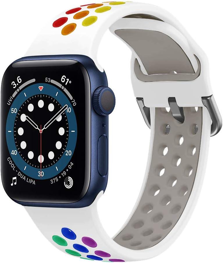 YPSNH Compatible con Correa Apple Watch 38mm 40mm 42mm 44mm Soft Silicone Sports Dual Color Correa de Reloj de Repuesto para iWatch Series 5 4 3 2 1, Sport, Edition para Mujeres Hombres