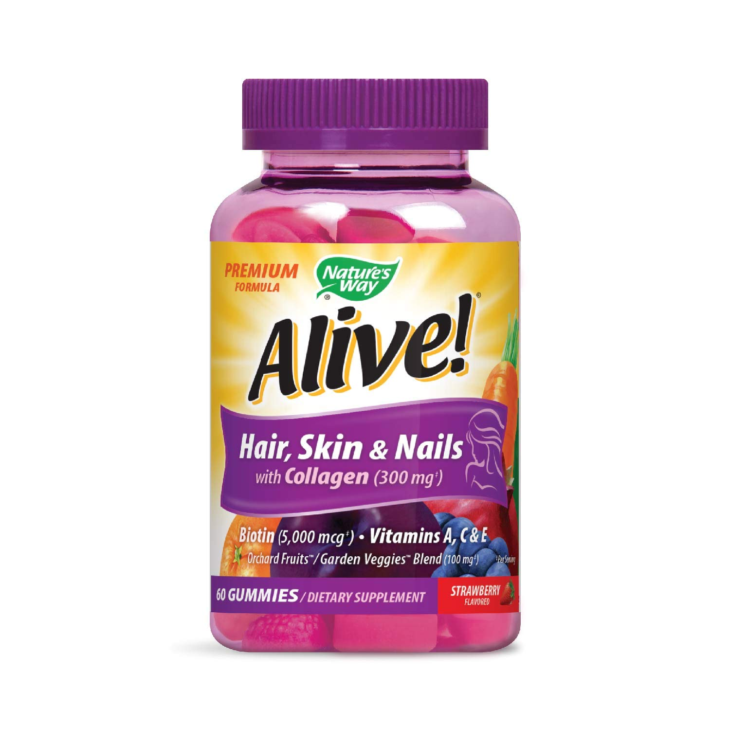 Amazon.com: Alive! Premium Hair, Skin and Nails Multivitamin with Biotin and Collagen, 60 Count: Health & Personal Care