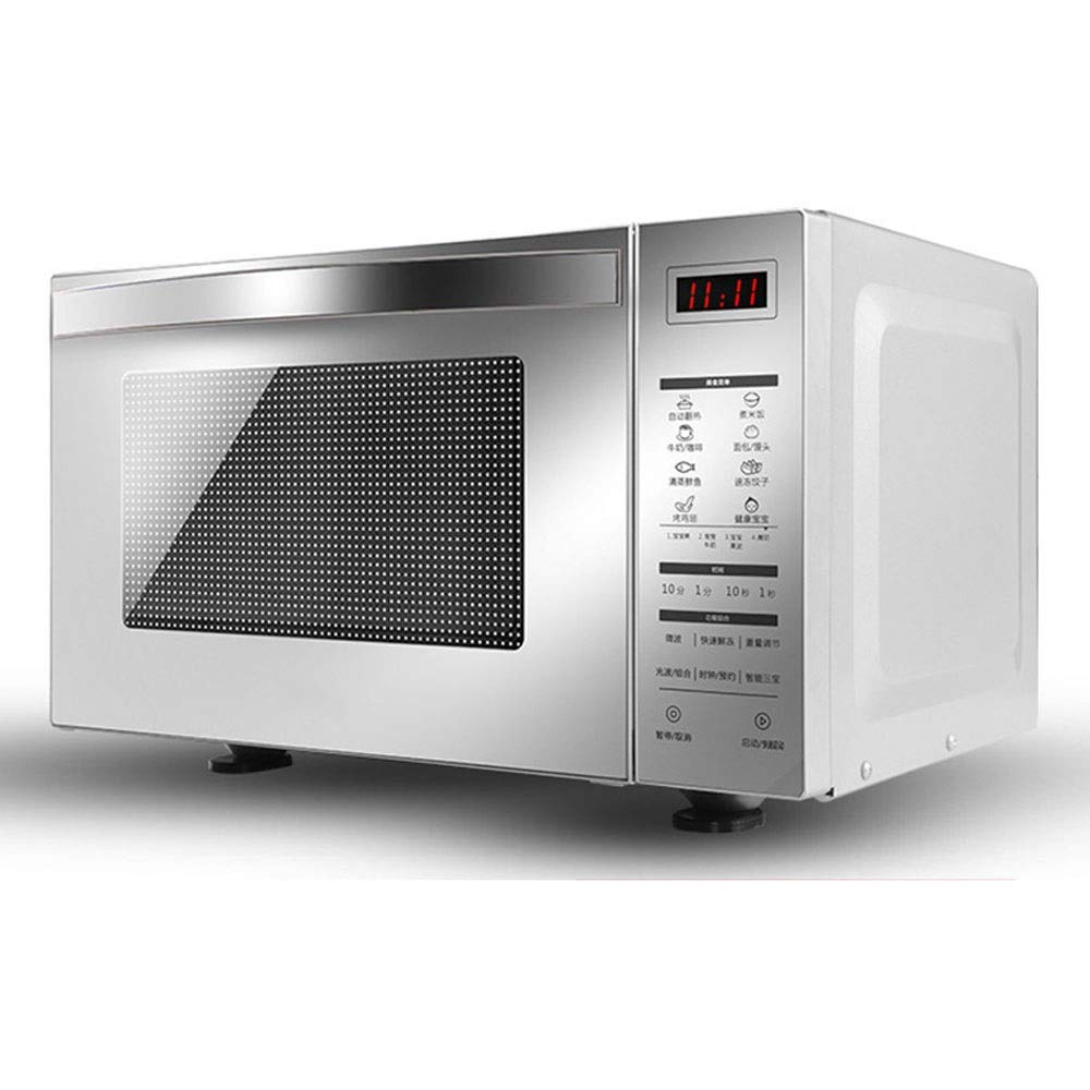 800W Household Microwave Oven, 23L Large Capacity, Flat-type Small Light Wave Stove,Drop-down Door Design,HD Display,Stainless Steel-silver