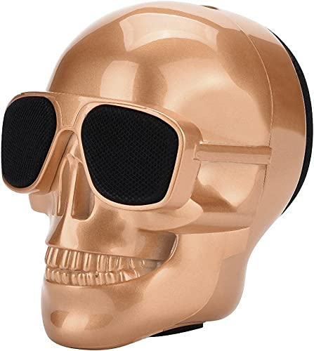 GorNorriss Electronics Gadgets Plating Skull Protable Wireless Bluetooth Stereo Speaker with HD Sound and Bass Gold