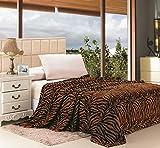 Jungla Animal Print Ultra Soft Brown Zebra Full Size Microplush Blanket