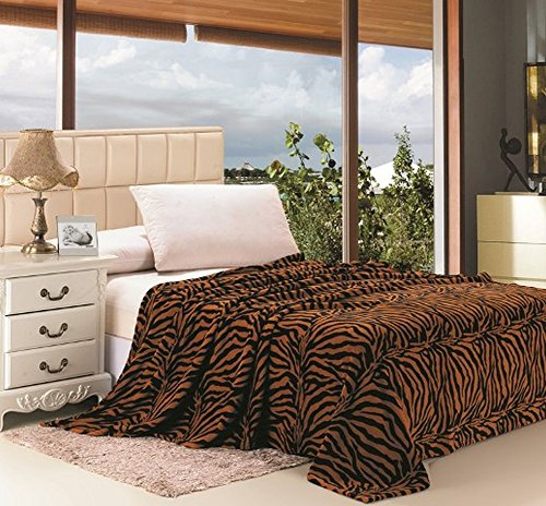 Jungla Animal Print Ultra Soft Brown Zebra Full Size Microplush Blanket by Ben&Jonah